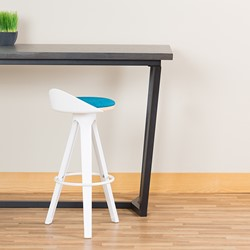 Low-Back Cafe Stool w/ White Legs