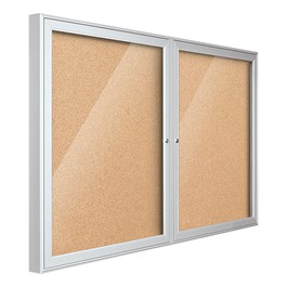 Indoor Enclosed Bulletin Board w/ Two Doors