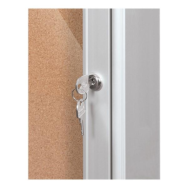 Indoor Enclosed Bulletin Board w/ Two Doors - Key