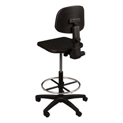 Adjustable-Height Mobile Industrial Stool - Back view