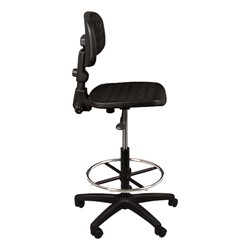 Adjustable-Height Mobile Industrial Stool - Side view