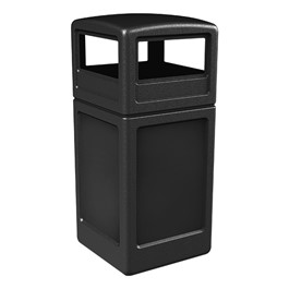 Square Plastic Trash Can w/ Dome Top Lid