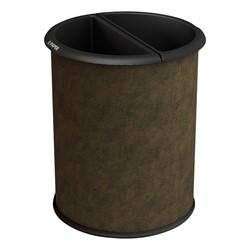 Indoor Trash & Recycling Bin - Brown Vinyl