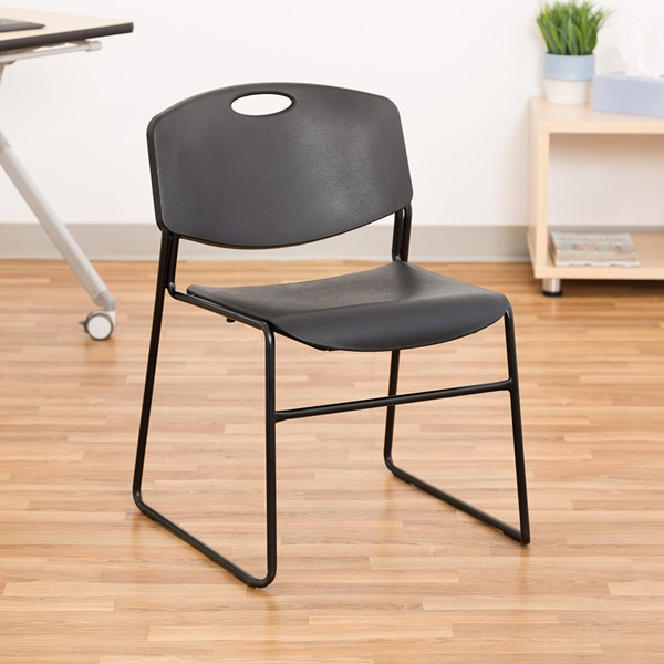 Pack of 28 Heavy-Duty Plastic Stacking Chairs w/ Universal Dolly - Black Seat & Black Frame - Chair
