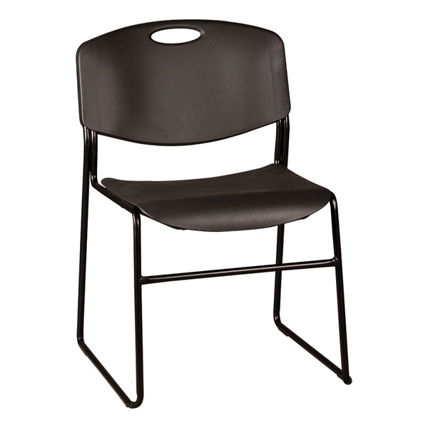 Heavy-Duty Plastic Stacking Chair w/ Black Seat & Black Frame