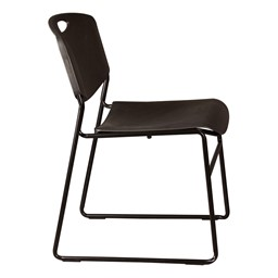 Heavy-Duty Plastic Stacking Chair w/ Black Seat & Black Frame - Side view