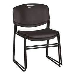 Heavy-Duty Plastic Stacking Chair w/ Black Seat & Black Frame - Multiple units shown stacked