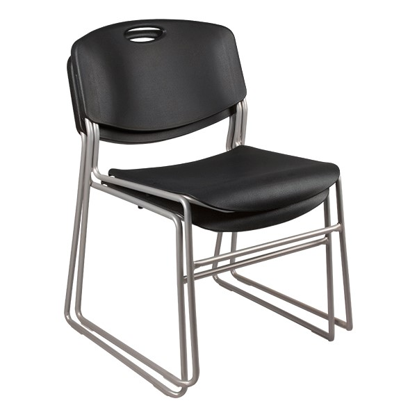 Heavy Duty Plastic Stacking Chair w/ Black Seat & Silver Mist Frame - Multiple units shown stacked