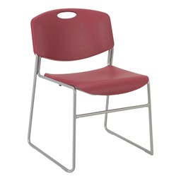 Pack of 28 Heavy-Duty Plastic Stacking Chairs w/ Universal Dolly - Chair - Cranberry Seat & Silver Mist Frame