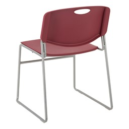 Heavy Duty Plastic Stacking Chair w/ Cranberry Seat & Silver Mist Frame - Back view