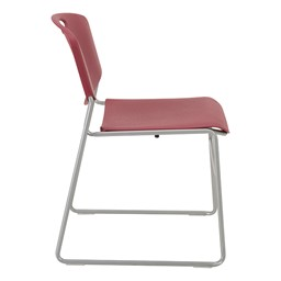 Heavy Duty Plastic Stacking Chair w/ Cranberry Seat & Silver Mist Frame - Side view