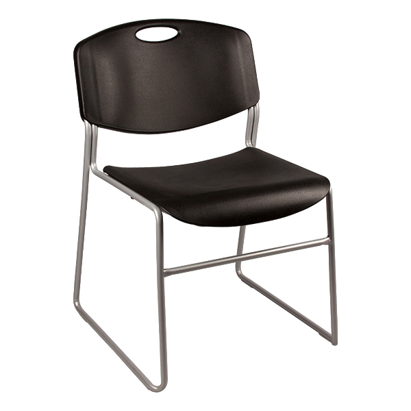 Heavy Duty Plastic Stacking Chair w/ Black Seat & Silver Mist Frame