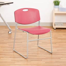 Heavy Duty Plastic Stacking Chair w/ Cranberry Seat & Silver Mist Frame - Front