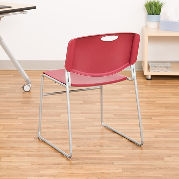 Heavy Duty Plastic Stacking Chair w/ Cranberry Seat & Silver Mist Frame - Back