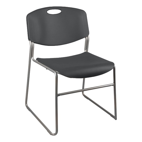 Heavy Duty Plastic Stacking Chair w/ Charcoal Seat & Silver Mist Frame