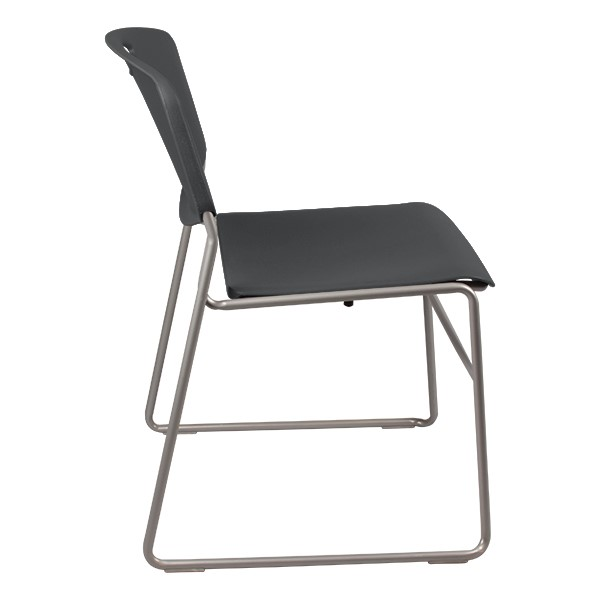 Heavy Duty Plastic Stacking Chair w/ Charcoal Seat & Silver Mist Frame - Side view