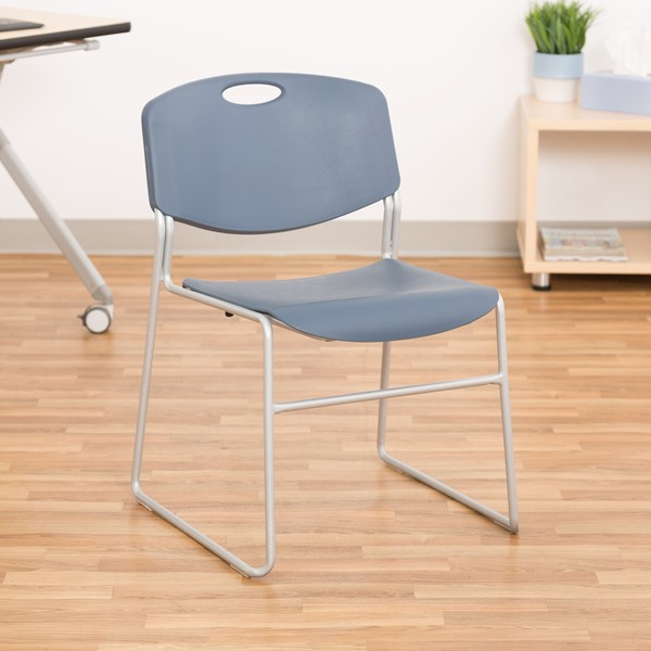 Pack of 28 Heavy-Duty Plastic Stacking Chairs w/ Universal Dolly - Chair - Navy Seat & Silver Mist Frame