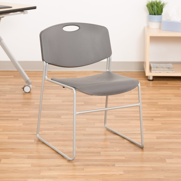 Pack of 28 Heavy-Duty Plastic Stacking Chairs w/ Universal Dolly - Chair - Charcoal Seat & Silver Mist Frame