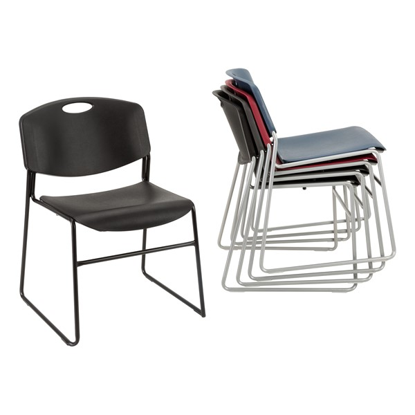 Pack of 28 Heavy-Duty Plastic Stacking Chairs w/ Universal Dolly - Chairs - Stacked