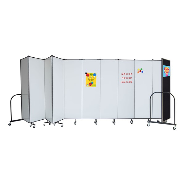 6' H Magnetic Whiteboard Tackable Portable Partition - 11 Panels