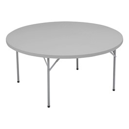 Round Blow-Molded Folding Table - Speckled gray top