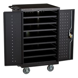 Structure Series 12-Device Laptop/Tablet Assembled Charging Cart - Black - Open