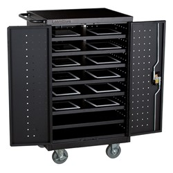 Structure Series 12-Device Laptop/Tablet Assembled Charging Cart - Black - Full