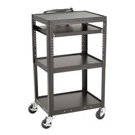 Adjustable-Height Metal AV Cart w/ Electric & Sliding Tray