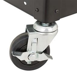 Adjustable-Height Metal AV Cart w/ Cabinet & Electric - Sliding Tray - Caster