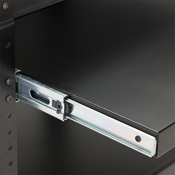 Adjustable-Height Metal AV Cart w/ Cabinet & Electric - Sliding Tray - Tray - Detail