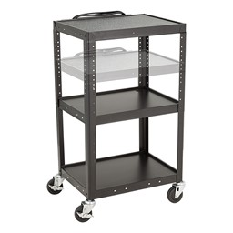 Adjustable-Height Metal AV Cart w/ Electric - Adjustability