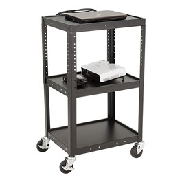 Adjustable-Height Metal AV Cart w/ Electric