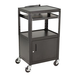 Norwood commercial furniture adjustable height metal av cart w adjustable height metal av cart w cabinet electric sliding tray sciox Gallery