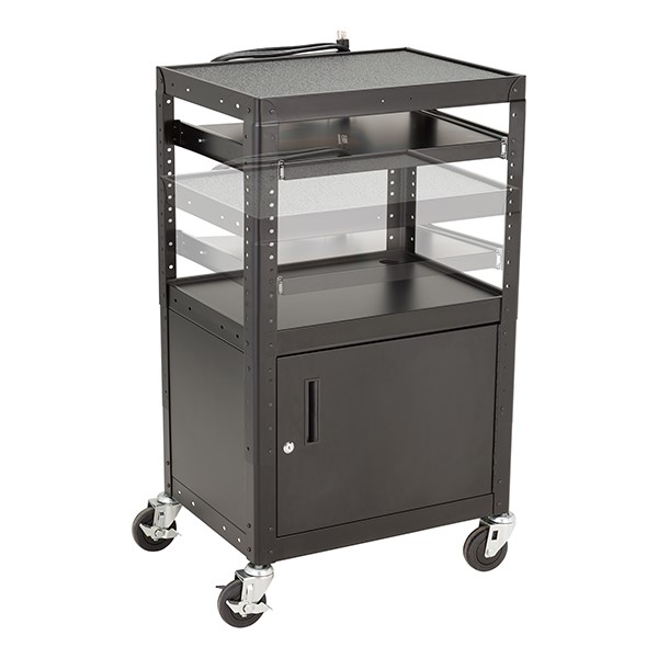 Adjustable-Height Metal AV Cart w/ Cabinet & Electric - Sliding Tray - Adjustability