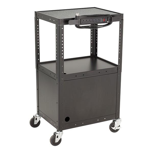 Adjustable-Height Metal AV Cart w/ Cabinet & Electric