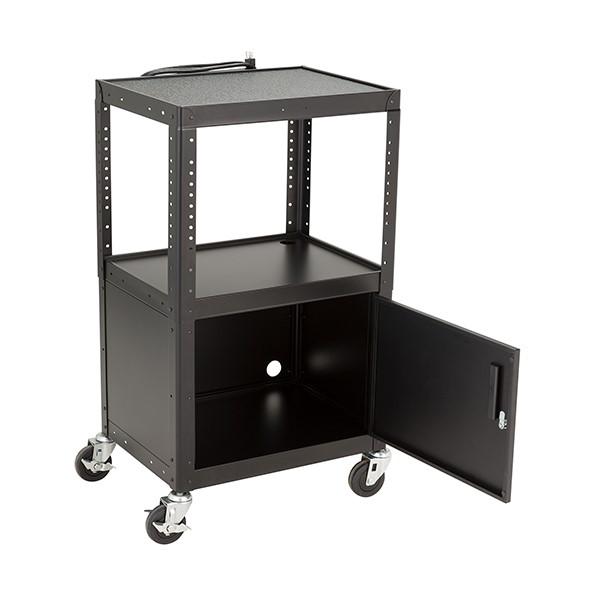 Adjustable-Height Metal AV Cart w/ Cabinet & Electric - Sliding Tray
