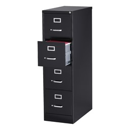 Vertical File Cabinet w/ Four Drawers - Black