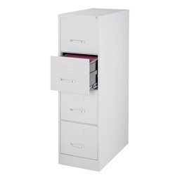 Vertical File Cabinet w/ Four Drawers - Gray