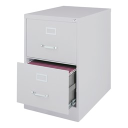 Vertical File Cabinet w/ Two Drawers - Legal - Gray