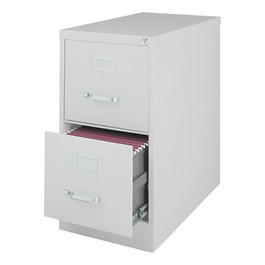 """Vertical File Cabinet w/ Two Drawers - Letter Size (26 1/2\"""" D) - Gray"""