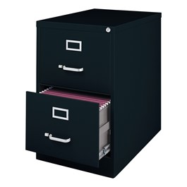 "Vertical File Cabinet w/ Two Drawers - Legal Size (26 1/2"" D) - Black"