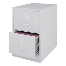 """Vertical File Cabinet w/ Two Drawers - Legal Size (26 1/2\"""" D) - Gray"""