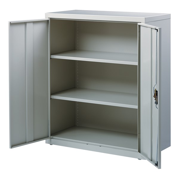 Counter-Height Steel Storage Cabinet - Gray