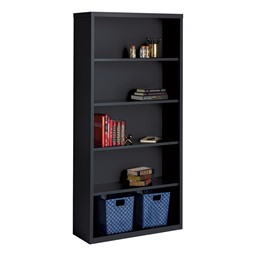 "Metal Bookcase (72"" H) - Black"