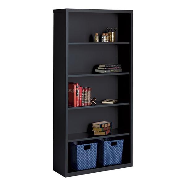 "Metal Bookcase (72"" H) - Black"