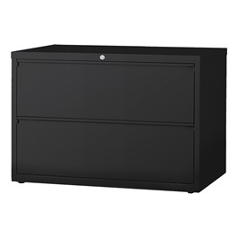 """Lateral File Cabinet w/ Two Drawers (42\"""" W) - Black"""