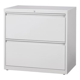 "Lateral File Cabinet w/ Two Drawers (30"" W) - Gray"