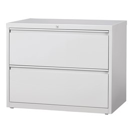 """Lateral File Cabinet w/ Two Drawers (36\"""" W) - Gray"""