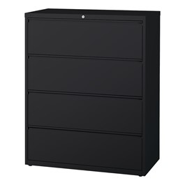 "Lateral File Cabinet w/ Four Drawers (42"" W) - Black"