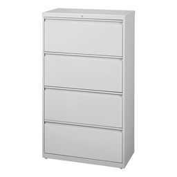 Lateral File Cabinet w/ Four Drawers - Gray